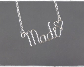 Madi Wire Word Name Pendant Necklace