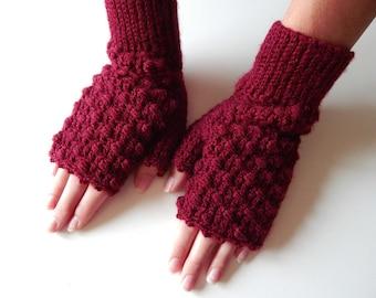 Mittens, crochet mittens, fingerless gloves, burgundy mittens, marsala mittens, hand warmers, womens accessories, gift for her