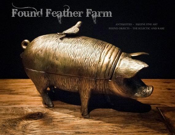 Vintage Brass Pig with Bird Box