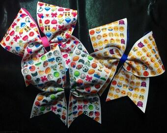 Emoji Ribbon Cheer Hair Bow Backed in Glitter