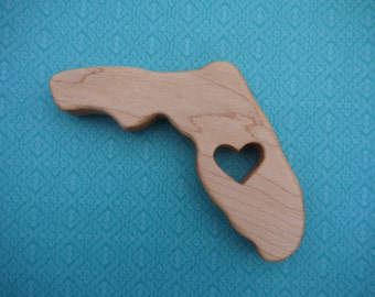 Wooden Florida Teether, Florida state shaped baby teething toy, US state teething toy, Natural teething toy