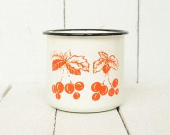 Vintage enamel mug Soviet Enamel cup Nursery enamel mug Children enamel mug Rustic Mug Farmhouse  Russian vintage mug Soviet enamelwar