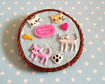 Brooch  handmade with  kittens