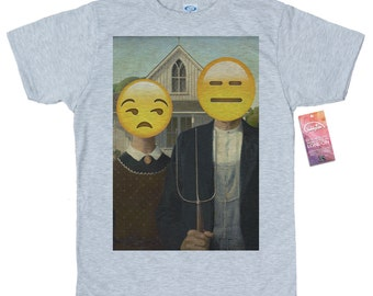 American Gothic T shirt Design, Grant Wood, Emoji Painting