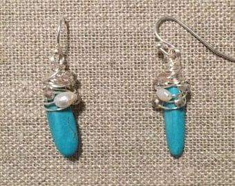 Silver, Faux Turquoise, Freshwater Pearl, Wrapped Drop Earring