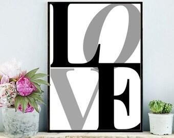 Love Print, Printable Art, Typography Print,  Inspirational Print, Modern Wall Art, digital Download, Wall Decor