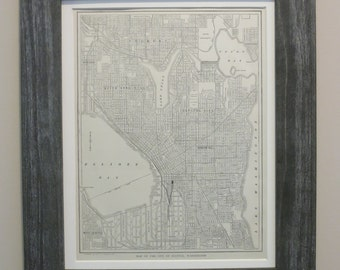 Antique 1911 Seattle Map Framed