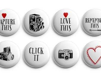 "8 Camera buttons / Photographer buttons - Set of 8 - 1.25"" Pinback Buttons, Magnets, or Flair, gifts for photographers, camera flair"