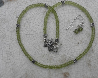 Beaded Faceted Peridot and Sterling Silver Necklace with Free Earrings