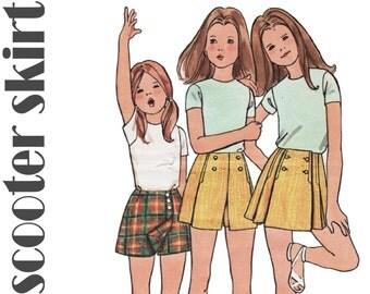 """Girls Culottes Pattern Girls Shorts Pattern BUTTERICK 6238 sz 10 waist 24.5"""" Scooter Skirt Skort Girls Pantskirt Vintage Girls Skirt Shorts"""