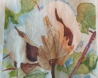 Cotton Boll kitchen towel, flour sack towel, kitchen towel, dishcloth, cotton boll, watercolor art, gifts, kitchen art
