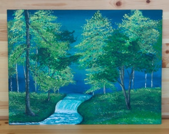 Tree Painting, Babbling brook painting, Nature Painting, Acrylic Painting, Blue and green Painting, Living room wall decor, Hand painted art