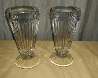 Vintage Glass Tall Ice Cream Sundae Bowl Set of 2