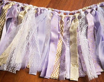 PURPLE & GOLD Rag Tie Garland,Rag Tie Banner,Photo Prop,Birthday Party Decor,Girl's Bedroom Decor,Lace,Tulle,Baby Shower,Shabby Chic