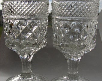 Vintage ***SALE*** Two, 1960s, Anchor Hocking Wexford, Stemmed, Pressed Glass, Goblets, Barware, Wine Glasses, Mad Men, Mid Century, Vintage