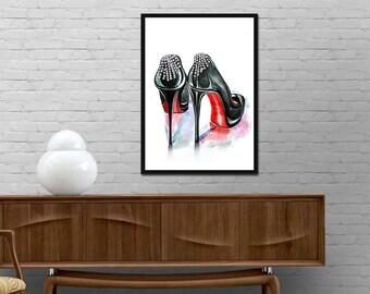Christian Louboutin Shoes Print. Fashion Watercolor, Fashion Poster. Louboutin Pumps, Fashion Illustration, Fashion Wall Art. Fashion Prints
