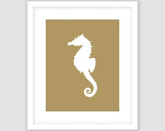 Nautical Set Of 4 Prints Navy Blue White Seahorse Print