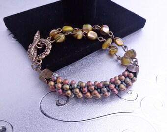 Beaded Bracelet, Kumihimo Bracelet, Bead Work Bracelet,Gift for Her