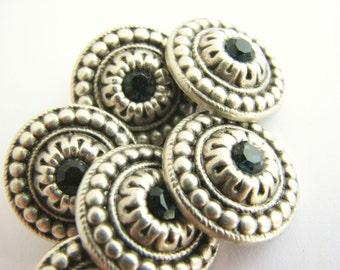 "Silver metal buttons with rhinestone in turquoise blue, metal shank button, 18.5 mm / 3/4"", new!"