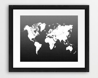 World Map Print, Black And White World Map Wall Art, White Map Art, Travel Map Wall Decor, Nursery Wall Art, Home Office Decor Printable Art