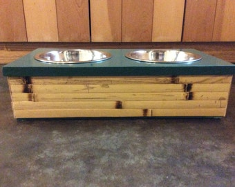Raised Pet Bowls with Bamboo Trim