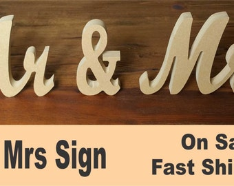 "Mr & Mrs sign painted 7"" optional bases"