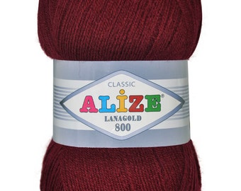 LANAGOLD 800 Alize 100 gr.- 800 m. knitting crochet, Soft yarn , Wool Yarn, Wool mixture