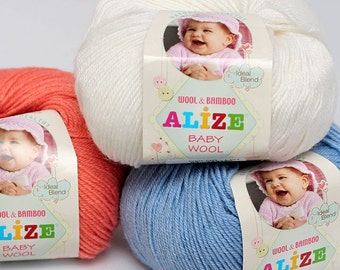 BABY WOOL Alize hypoallergenic and antibacterial yarn- very mild winter baby yarn- 50gr-175m