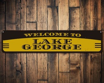 Lake Welcome Sign, Personalized Lake House Sign, Metal Lake House Decor, Custom Lake Name Sign, Lake Sign- Quality Aluminum ENS1001119