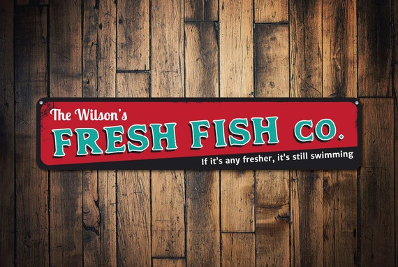 Fresh fish company sign personalized family name sign custom for Fresh fish company
