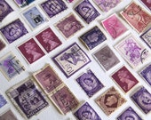 Woldwide purple postage stamps lot of 50 crafting collage travel art scrapbook  cancelled used old stamps canada england germany india
