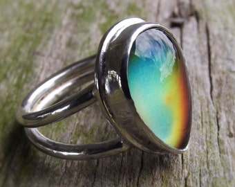 Tear Drop Sterling Silver Mood Ring