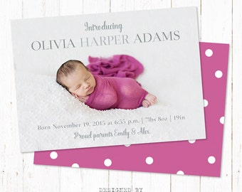 Personalized birth announcement card. Baby girl announcement card. Custom newborn card made to order. Digital file 5x7 inch.