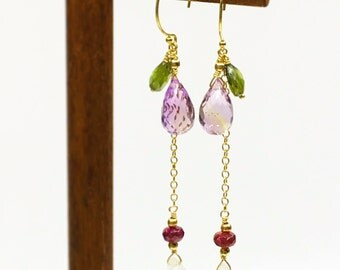 Summer fruit ametrine earrings with tourmalines and moonstones in gold filled findings