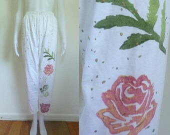 35%offJuly21-24 80s casual pants size xs / small, high waist pants, cropped ankle pants, hand painted, knit cotton, 1980s floral pants