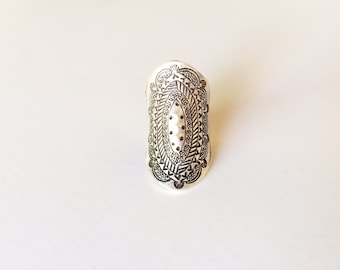 Spring Equinox Ring - Carved Sterling Silver Ring - Bohemian - Statement Ring - Stamp Ring