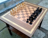Wooden table chess set and chess pieces, big outdoor or home decor chess set