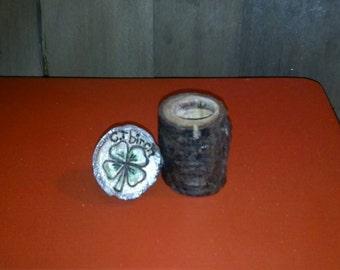 CT Birch Branch JAR with Shamrock woodburning design