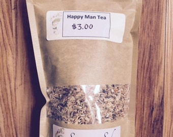 Happy Man Tea 2 oz., Herbal Tea, Organic Tea, Dandelion, Eleuthero, Burdock, Marshmallow, Hawthorn, Fennel, Nettle, Oatstraw, Saw Palmetto