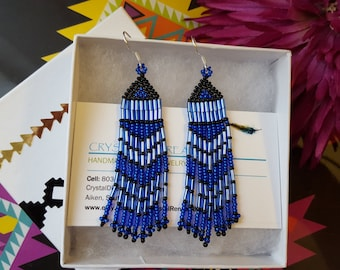 Native Beaded Earrings in Shimmering Blue and Black