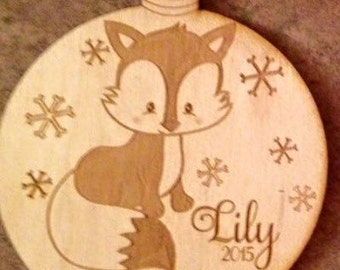 Personalized Fox Wood Ornament