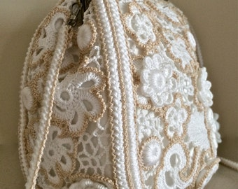 Wedding crochet bag. Vintage. Irish Crochet. Clutch. Purse. Evening bag. Free Form crochet.