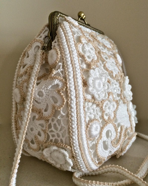 Crochet Wedding Clutch. Bag. Purse.Irish Crochet. Evening Bag. Free Form Crochet.Vintage. By ...