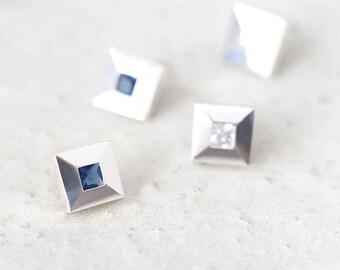 Tile Stone Earrings 925 Sterling Silver September Birthstone