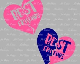 Best Friend Split Heart, SVG DXF EPS, Best Friends Design, besties svg, split heart svg file, svg file Cricut Silhouette, svg cutting file