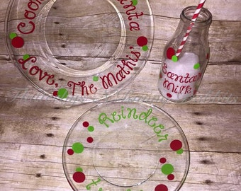 Santa and reindeer cookie plate and milk glass Christmas cookies santas cookie set reindeer night before christmas