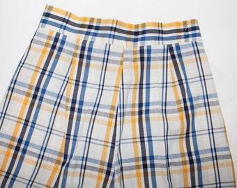 Vintage Madras Plaid Wide Leg Pants Yellow Navy Blue 1970s High Waist