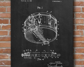 Snare Drum Patent Print, Drum Patent, Music Room Decor, Gift for Drummers - DA0396