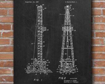 Oil Drilling Patent, Texas Oil Rig, Office Decor, Oil & Gas Patent, Patent Print - DA0551