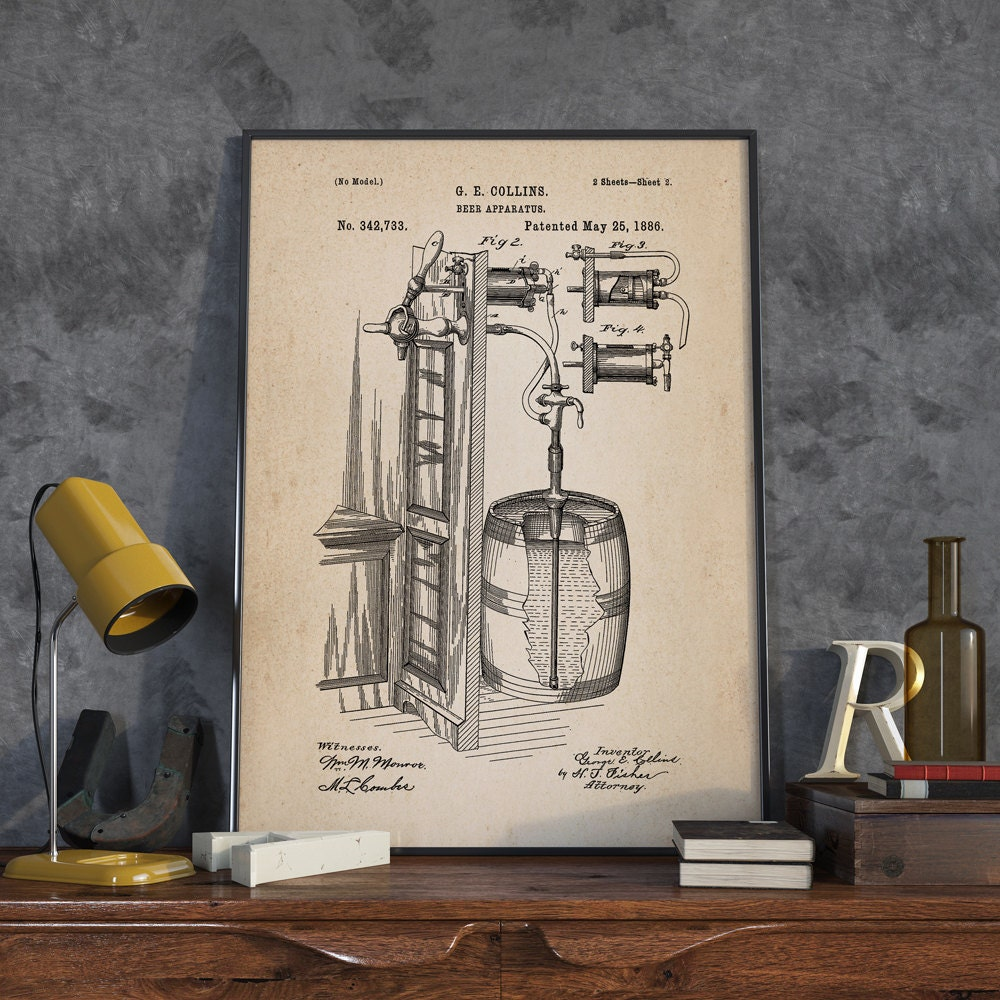 Beer Inventions Wall Art Poster Beer Patent Wall Art Beer